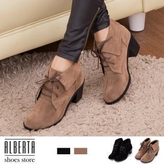 【Alberta】MIT台灣製 韓版時尚 絨毛 粗高跟 短靴 踝靴(可可)
