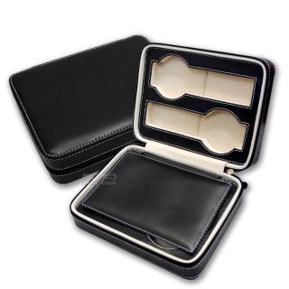 【手錶收藏盒】細緻質感平式拉鍊真皮收納包 四入裝 - 黑色(CK004W)