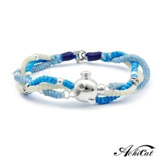 【AchiCat】蠶絲蠟繩手鍊 925純銀飾 海底探險 HS6067