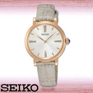 【SEIKO 精工】氣質女錶_羅馬數字_玫瑰金色錶框_真皮錶帶_女錶(SFQ812P1)