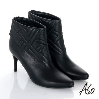 【A.S.O】保暖靴 真皮後拉鍊奈米尖楦高跟踝靴(黑)