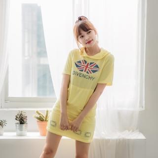 【Jimmy&Wang】黃色短袖連帽學院風上衣+裙褲套裝2件組(網)