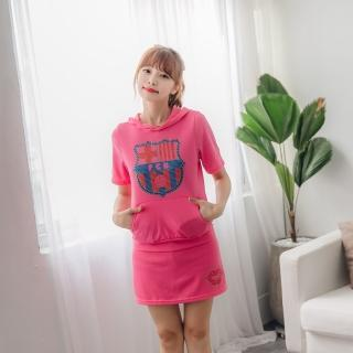 【Jimmy&Wang】粉色短袖連帽學院風上衣+裙褲套裝2件組(網)