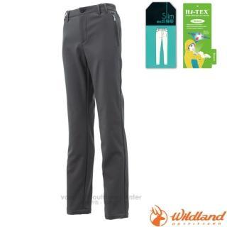 【荒野 WildLand】女款 SOFTSHELL合身保暖長褲.透氣機能長褲.運動長褲.立體修身長褲(0A12321 深鐵灰)