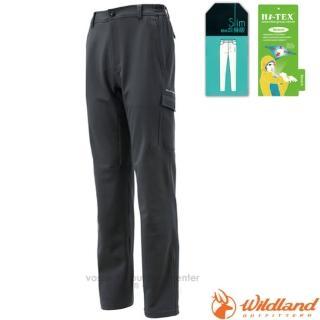 【荒野 WildLand】男款 SOFTSHELL合身長褲.休閒運動長褲.保暖機能長褲.休閒長褲(0A12316 深灰)