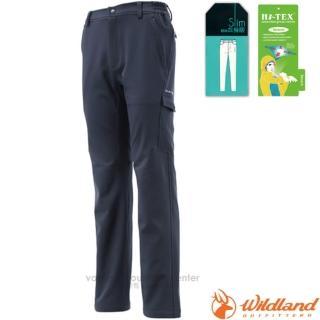 【荒野 WildLand】男款 SOFTSHELL合身長褲.休閒運動長褲.保暖機能長褲.休閒長褲(0A12316 深藍)