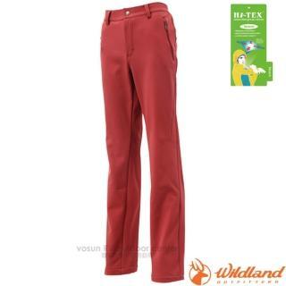 【荒野 WildLand】女款 SOFTSHELL直筒長褲.透氣機能長褲.保暖長褲.立體修身長褲(0A12307 赭紅)