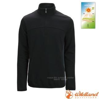 【荒野 WildLand】男款 彈性針織保暖衣.半開襟長袖立領衫.POLO衫.保暖上衣.刷毛衣(0A02602 黑)