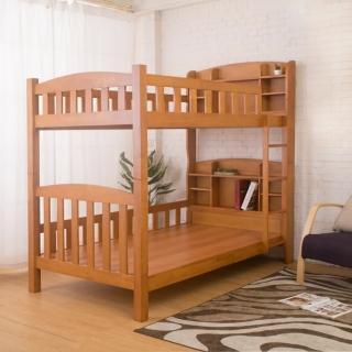 【Bernice】班捷明3.7尺單人實木書架雙層床架