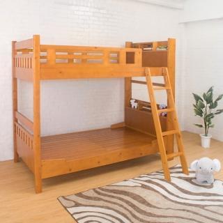 【Bernice】德克斯3.7尺單人實木書架雙層床架