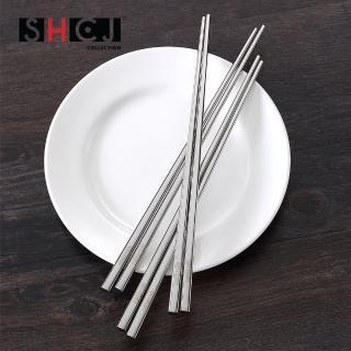 【生活采家】新穎304不鏽鋼隔熱方形筷5雙入(#99341)