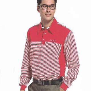 【義大利 SINA COVA】男女運動休閒吸濕排汗電腦條紋長POLO衫(紅)