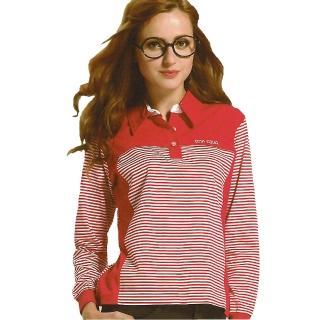 【義大利 SINA COVA】女版運動休閒吸濕排汗電腦條紋長POLO衫(紅)