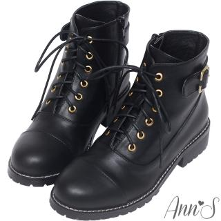 【Ann'S】個性元素-古銅C釦層次縫線側拉鍊綁帶低跟短靴(黑)