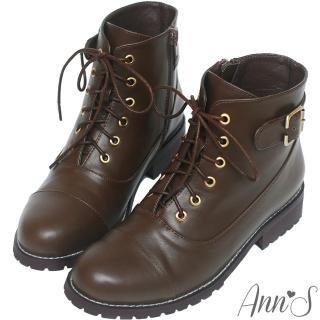 【Ann'S】個性元素-古銅C釦層次縫線側拉鍊綁帶低跟短靴(深咖)