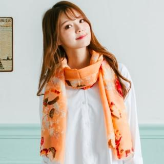 【Wonderland】優雅花卉100%純羊毛披肩(橘)