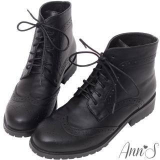 【Ann'S】英倫風-復古雕花牛津層次綁帶低跟短靴(黑)