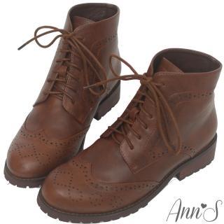 【Ann'S】英倫風-復古雕花牛津層次綁帶低跟短靴(深咖)
