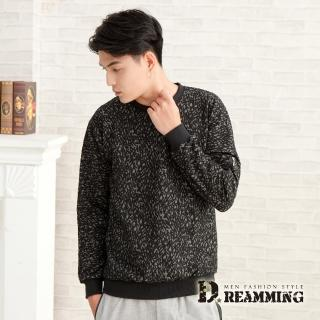 【Dreamming】滿版緹花拉鍊口袋圓領大學長T(黑灰)