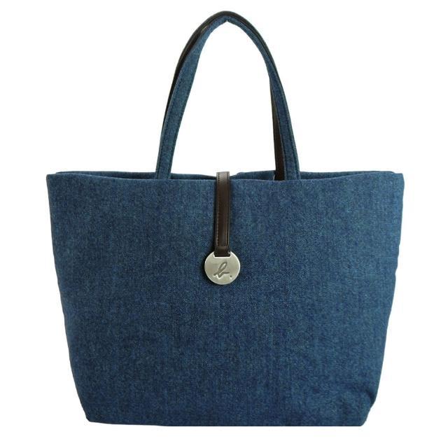 【agnes b.】圓牌素面棉布手提包(大/藍)