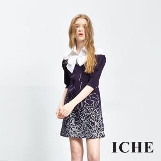 【ICHE 衣哲】假兩件式領結印花造型洋裝