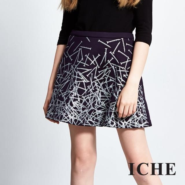 【ICHE 衣哲】個性印花傘擺造型短裙