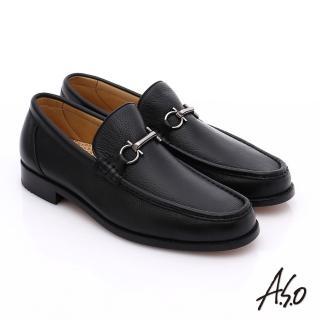 【A.S.O】尊榮青紳 柔軟鹿皮雙釦環紳士鞋(黑)