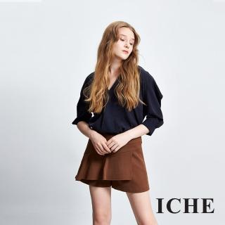 【ICHE 衣哲】羊毛波浪一片式拼接褲裙