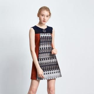 【ICHE 衣哲】色塊拼接印花禮服洋裝