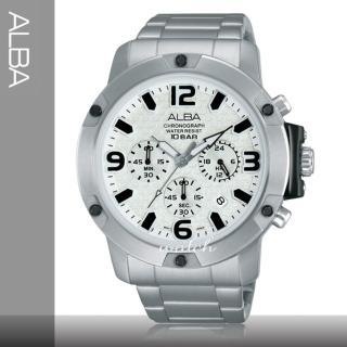 【SEIKO 精工 ALBA 系列】時尚必備_三眼顯示_不鏽鋼錶帶_計時碼表_防水_男錶(AT3805X1)