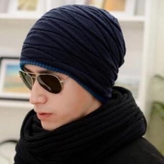 【米蘭精品】針織毛線帽男帽子(韓版雙面滑雪保暖防寒男配件4色73if16)