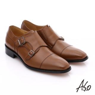 【A.S.O】尊榮青紳 全牛皮雙排釦紳士鞋(茶)
