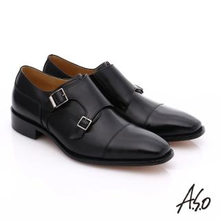 【A.S.O】尊榮青紳 全牛皮雙排釦紳士鞋(黑)