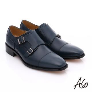 【A.S.O】尊榮青紳 全牛皮雙排釦紳士鞋(藍)