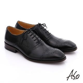 【A.S.O】尊榮青紳 全牛皮雕花紳士鞋(黑)