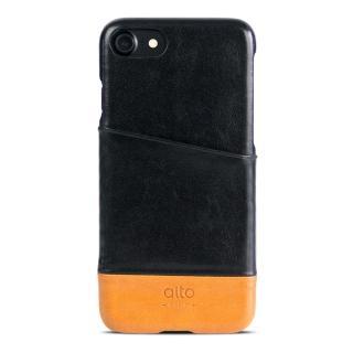【alto】iPhone 7 真皮手機殼背蓋 Metro - 黑色/淺棕(alto  義大利真皮皮革)