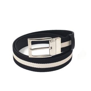 【BALLY】617881 TONNI 35 黑白色(織紋拼接雙面設計皮帶)