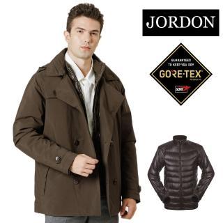【JORDON 橋登】老公出差中長版風衣 GORE-TEX+鵝絨二合一外套(1111)