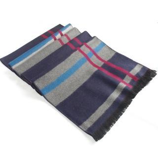 經典時尚100%蠶絲保暖圍巾(紅條藍+灰紋)