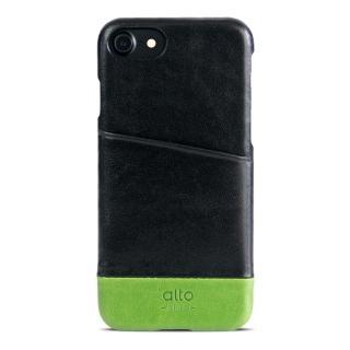 【alto】iPhone 7 真皮手機殼背蓋 Metro - 黑色/萊姆綠(alto  義大利真皮皮革)