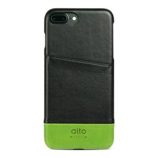 【alto】iPhone 7 Plus 真皮手機殼背蓋 Metro - 黑色/萊姆綠(alto  義大利真皮皮革)