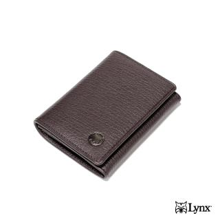 【Lynx】進口象紋壓花壓扣名片夾(紳士真皮手感極佳)