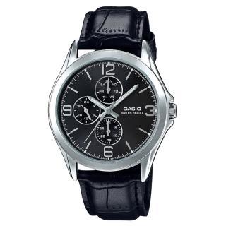 【CASIO 卡西歐】時尚精選_三眼計時_皮革錶帶_防水_礦物玻璃_指針男錶(MTP-V301L)