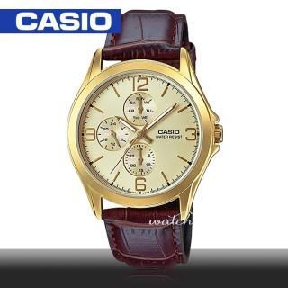 【CASIO 卡西歐】時尚精選_三眼計時_皮革錶帶_防水_指針男錶(MTP-V301GL)