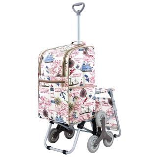 【卡蘿】輕便時尚購物車-28L三輪有椅-海洋之星(保鮮/附座椅/上下樓梯)