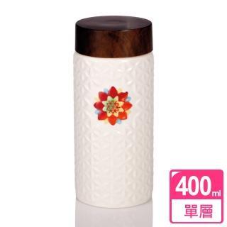 【乾唐軒活瓷】生命之花隨身杯 / 牙白胭脂彩 / 中 / 單層 / 木紋蓋