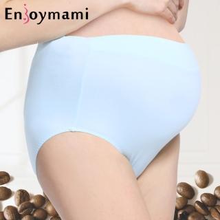 【ENJOYMAMI】科技機能孕婦高腰內褲/超彈性無痕咖啡紗(藍)