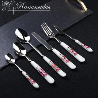 【Ranunculus】304不銹鋼骨瓷餐具(湯匙、餐刀、餐叉、奶油刀)