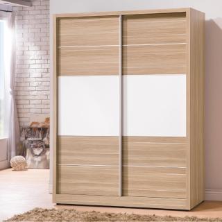 【時尚屋】肯詩特烤白雙色5尺推門衣櫃(G17-A018-1)