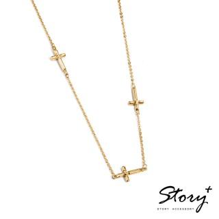 【STORY ACCESSORY】十字系列-堅信 純銀項鍊(黃K金)